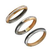 Кольцо Дуэт двустороннее с черными и прозрачными фианитами, красное и белое золото
