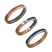 Кольцо Дуэт двустороннее с рубиновыми и сапфировыми фианитами из красного и белого золота