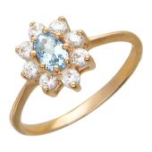 Золотое кольцо Ди с фианитами и полудрагоценным камнем, красное золото