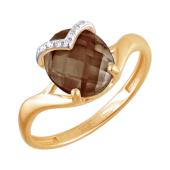 Кольцо с раух-топазом и дорожками из прозрачных фианитов из красного золота 585 пробы