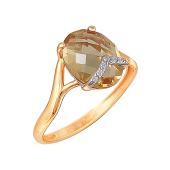 Кольцо с цитрином бриолет и фианитами из красного золота 585 пробы