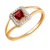 Кольцо с квадратным гранатом и фианитами из красного золота