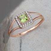 Кольцо с квадратным хризолитом и фианитами из красного золота