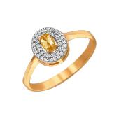 Кольцо с овальным цитрином и фианитами из красного золота 585 пробы