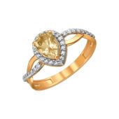 Кольцо с цитрином в огранке Груша и фианитами, красное золото 585 проба