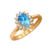 Кольцо Принцесса с овальным топазом и фианитами, красное золото 585 проба