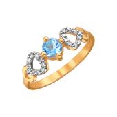 Кольцо с круглым топазом Sky и фианитами из красного золота