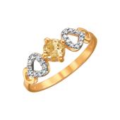 Кольцо с круглым цитрином и фианитами из красного золота 585 пробы