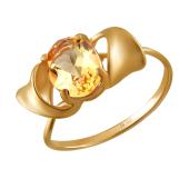 Кольцо с цитрином из красного золота 585 пробы