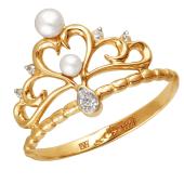 Кольцо Корона с серцем с белым жемчугом и прозрачными фианитами из красного золота 585 пробы
