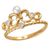Кольцо Корона с сердцем с белым жемчугом и прозрачными фианитами из красного золота 585 пробы