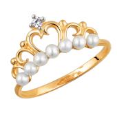 Кольцо Корона с белым жемчугом и прозрачным фианитом из красного золота 585 пробы