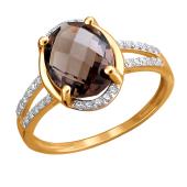 Кольцо с раухтопазом и фианитами из красного золота 585 пробы