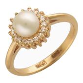 Кольцо, красное золото, крупная жемчужина, украшенная фианитами