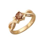 Кольцо с раухтопазом в огранке Триллион, красное золото 585 проба