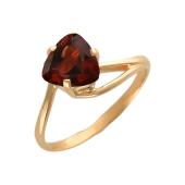 Кольцо с гранатом в огранке Триллион, красное золото 585 пробы