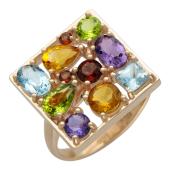 Кольцо квадратное с цветными камнями разной формы, красное золото