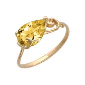 Кольцо с цитрином, красное золото