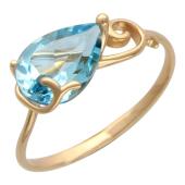 """Золотое кольцо с полудрагоценной вставкой в оправе """"Завиток"""""""