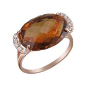 Кольцо с коньячным кварцем бриолет и фианитами, красное золото