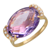 Кольцо с овальным камнем и фианитами, красное золото