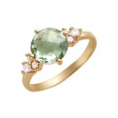 Кольцо с круглым празиолитом в огранке бриолет и фианитами, красное золото 585 проба
