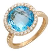 Кольцо с полудрагом круглой формы в обрамлении фианитов