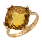 Кольцо с большим квадратным топазом (аметистом, кварцем, празиолитом) бриолет, красное золото