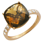 Кольцо с большим квадратным граненым полудрагоценным камнем и дорожкой фианитов, красное золото