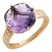 Кольцо с большим квадратным граненым аметистом/топазом и дорожкой фианитов, красное золото