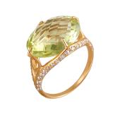 Кольцо с кварцем и дорожками из прозрачных фианитов из красного золота 585 пробы