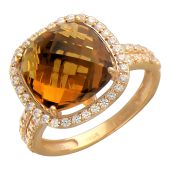 Кольцо, большой граненый полудрагоценный камень огранки Антик и фианиты вокруг, красное золото