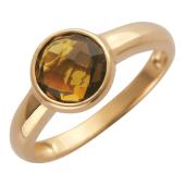 Золотое кольцо с полудрагом формы бриолетт круг, красное золото