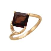 Кольцо с квадратным гранатом, красное золото