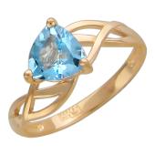 Кольцо с топазом/аметистом/гранатом/хризолитом треугольной формы, золотые переплетения, красное золото