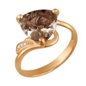 Кольцо с раух-топазом и фианитом из красного золота 585 пробы