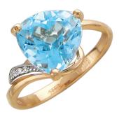 Золотое кольцо с фианитом и полудрагоценным камнем треугольной формы со скошенными краями