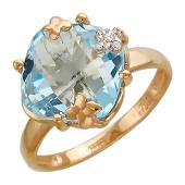 Золотое кольцо с фианитом и полудрагоценным камнем фантазийной огранки в оправе с цветочками