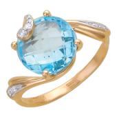 Золотое кольцо с фианитом и полудрагоценным камнем круглой огранки