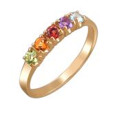 Кольцо Дорожка с топазом, аметистом, гранатом, цитрином, хризолитом, красное золото