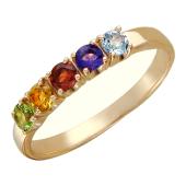 Кольцо, красное золото, пять круглых полудрагоценных камней