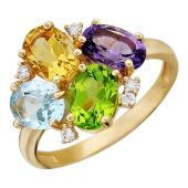 Кольцо с овальным топазом, хризолитом, цитрином, аметистом и фианитами из красного золота 585 проба