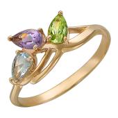 """Золотое кольцо """"Листочки"""" с цветными полудрагами"""