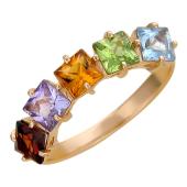 Кольцо с пятью квадратными полудрагами (аметист, гранат, топаз, хризолит, цитрин), красное золото 585 проба