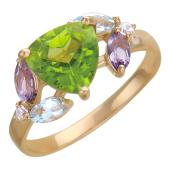 """Золотое кольцо с полудрагоценными вставками, """"Полянка"""""""