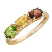 Кольцо с тремя овальными камнями, гранат, цитрин и хризолит, красное золото