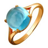 Кольцо с круглым топазом в огранке Кабашон, красное золото 585 проба