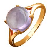 Кольцо с круглым аметистом в огранке кабашон, красное золото 585 проба