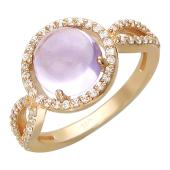 Кольцо, красное золото, большой круглый полудраг в оправе с фианитами