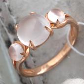 Кольцо с розовым кварцем в огранке кабашон, красное золото 585 проба